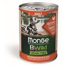Корм Monge Dog BWild консервы из индейки с тыквой и кабачками для взрослых собак всех пород