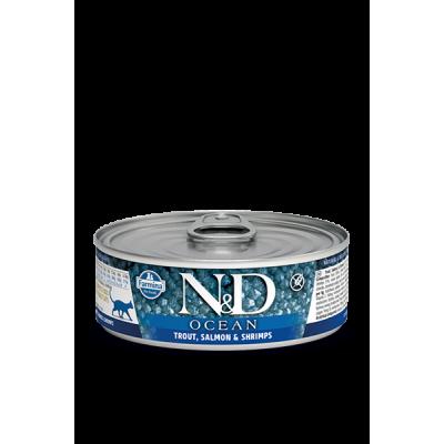 Консервы Farmina N&D для кошек форель, лосось и креветки