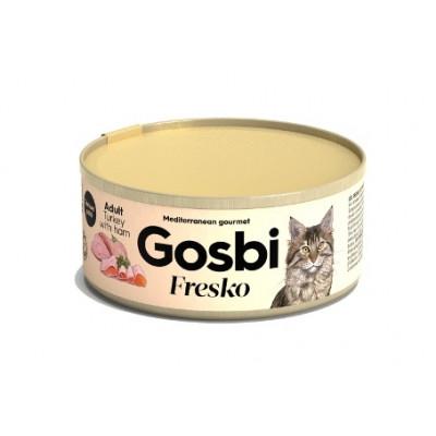 Консервы Gosbi для кошек индейка и ветчина