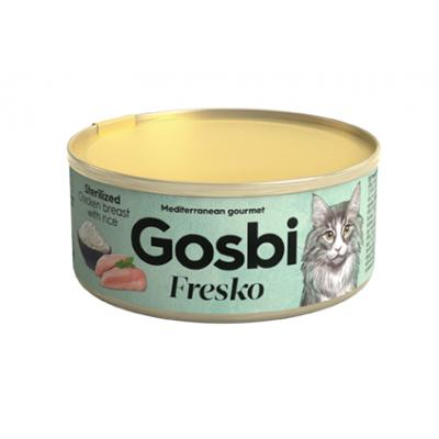 Консервы Gosbi для стерилизованных кошек куриная грудка и рис