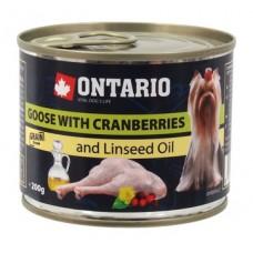Ontario консервы для собак малых пород с гусём и клюквой