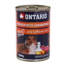 Ontario консервы для собак с олениной и клюквой