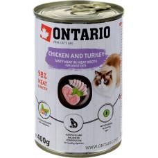Ontario консервы для кошек с курицей и индейкой