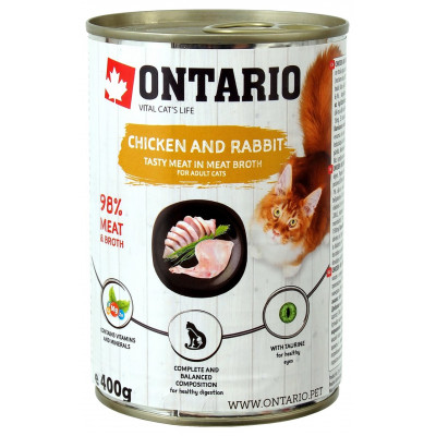 Ontario консервы для кошек с курицей и кроликом