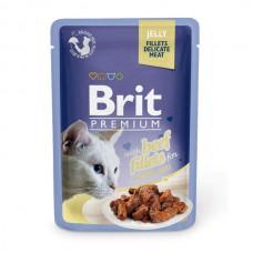 """Brit Premium корм для кошек """"Кусочки из  филе говядины в желе"""""""