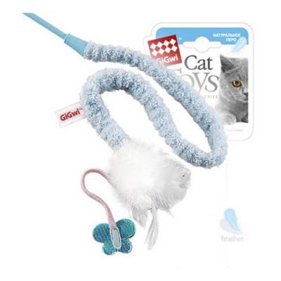 GiGwi Дразнилка для кошек на стеке с перьями, 73 см