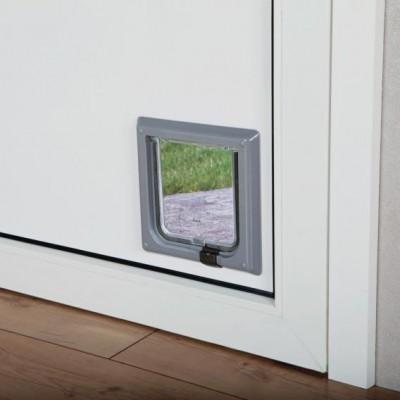 Дверца для кошек и мелких собак маленькая серая