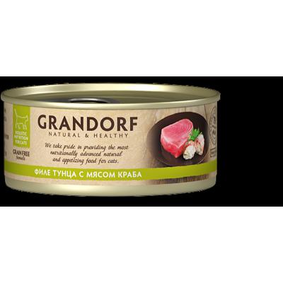 Консервы Grandorf для кошек филе тунца с мясом краба