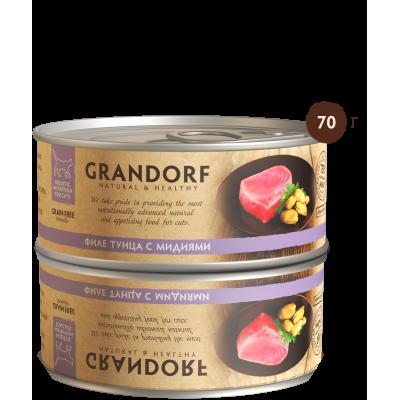 Консервы Grandorf для кошек филе тунца с мидиями