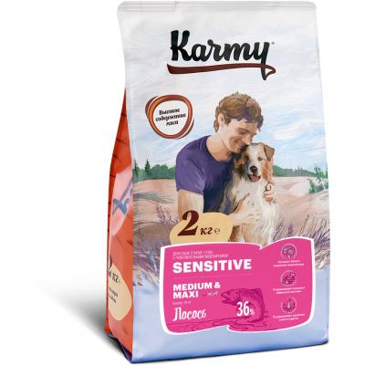 Корм Karmy Sensitive Medium & Maxi для собак средних и крупных пород с чувствительным пищеварением, лосось