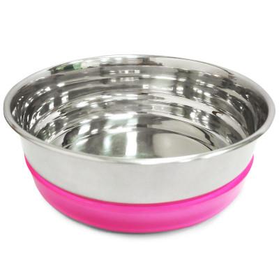 Миска металлическая с розовой резинкой, 0,3л