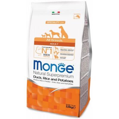 Корм Monge Dog для собак с уткой, рисом и картофелем