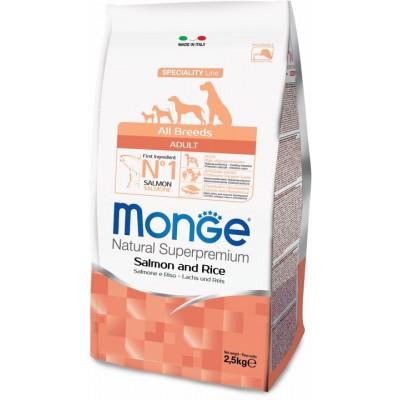 Корм Monge Dog для собак с лососем и рисом