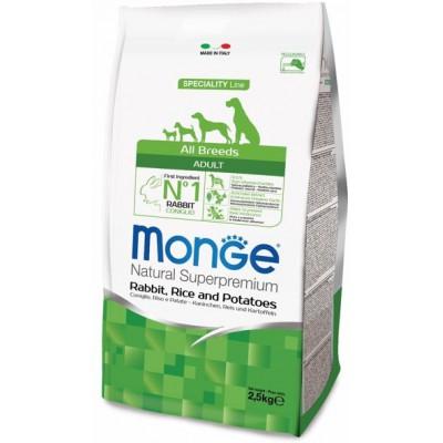 Корм Monge Dog для собак с кроликом, рисом и картофелем