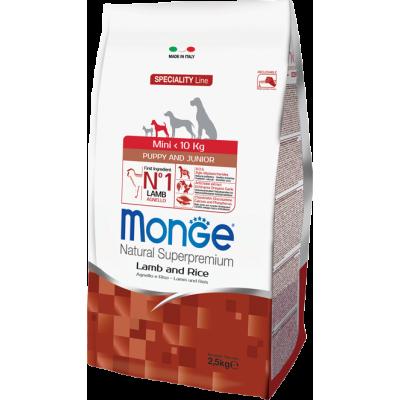 Корм Monge Dog Mini для щенков мелких пород с ягненком, рисом и картофелем