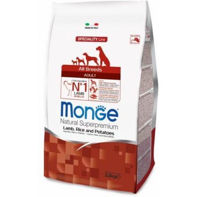Корм Monge Dog для собак с ягненком, рисом и картофелем