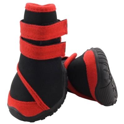 """Обувь для собак """"Ботинки черные с красным"""", размер S"""