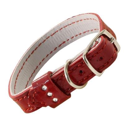 Ошейник-мини кожаный двойной со стразами, 1*20 см.