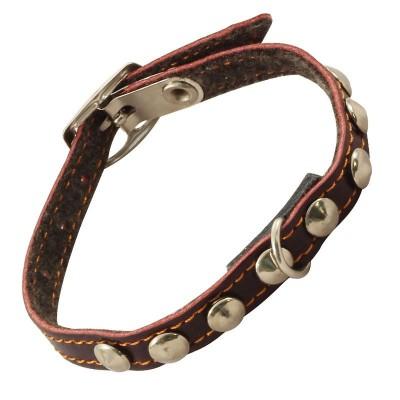Ошейник-мини кожаный с украшением 25*1 см
