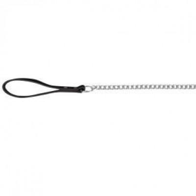Поводок-цепь 1м/3мм с кожаной ручкой