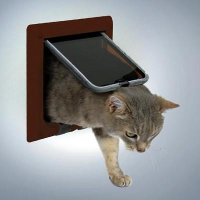 Дверца для кошек и мелких собак коричневая, 4 позиции