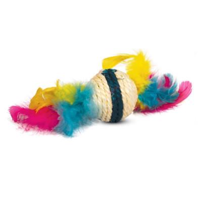 """Игрушка для кошек из сизаля """"Шарик с перьями"""", d50/90мм"""
