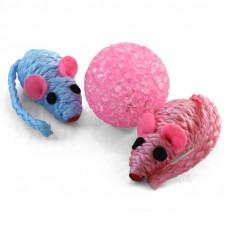Набор игрушек для кошек мяч, 2 мыши яркие