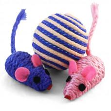 Набор игрушек для кошек мяч, 2 мыши