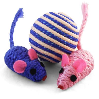 Набор игрушек для кошек (мяч, 2 мыши), d45мм; 50мм