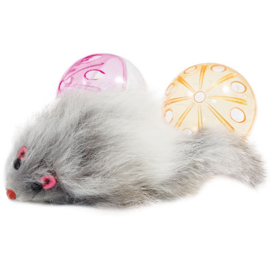 Набор игрушек для кошек (2 мяча, мышь), d45мм, 55мм