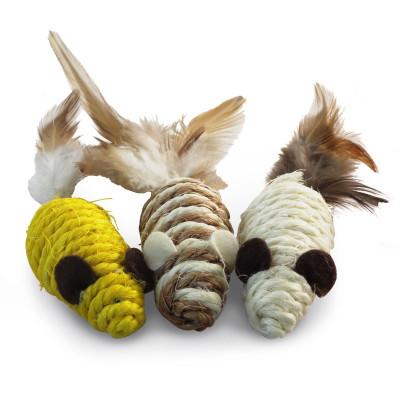 Набор игрушек для кошек 3 мыши из сизаля