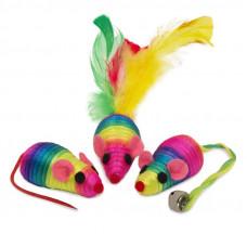 Набор игрушек для кошек 3 радужные мыши