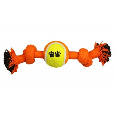 """Игрушка для собак """"Веревка-канат, 2 узла и мяч"""", 240мм"""