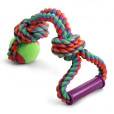 """Игрушка для собак """"Верёвка с ручкой, 2 узла и мяч"""" d65/380мм"""