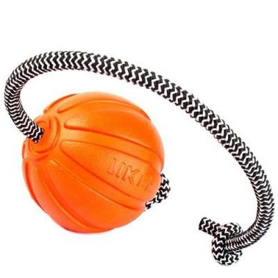 Игрушка для собак мячик Лайкер корд на шнуре 7 см