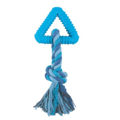 """Игрушка для собак из цельнолитой резины """"Треугольник с веревкой"""""""