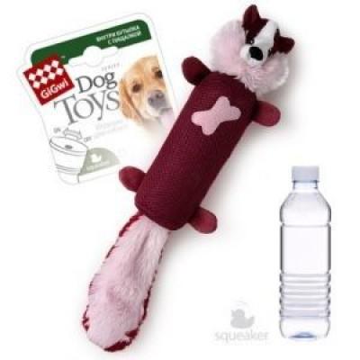 Игрушка для собак лиса с бутылкой и пищалкой в крышке