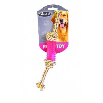 """Игрушка для собак """"Плетеная веревка с пластиковой гантелькой"""""""