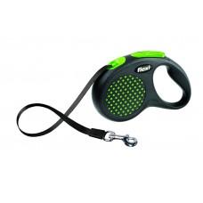 Flexi Design S рулетка-ремень для собак зелёная 5м/15кг