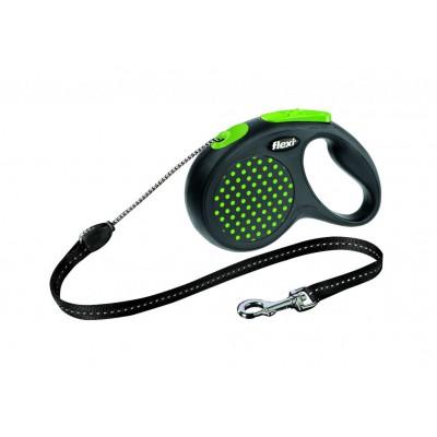 Flexi Design M рулетка-трос для собак зелёная 5м/20кг
