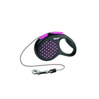 Flexi Design XS рулетка-трос для собак розовая 3м/8кг