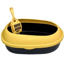 Туалет для кошек овальный с бортом 50*37*17 см