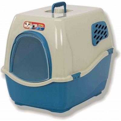 Туалет-домик для кошек сине-бежевый Marchioro 50*40*42 см
