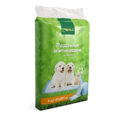 Пелёнки для собак Triol 60*90 см, 6 шт