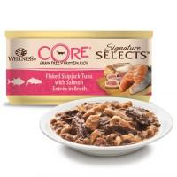 Консервы Wellness CORE для кошек рубленый тунец с лососем в бульоне