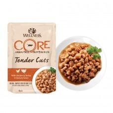 Пауч Wellness CORE для кошек нежные кусочки курицы и индейки в пикантном соусе