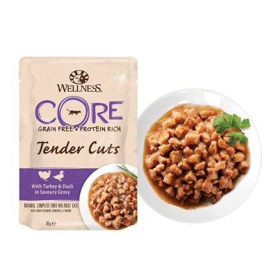 Пауч Wellness CORE для кошек нежные кусочки индейки и утки в пикантном соусе